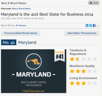 SHOCKER: Maryland Ranks Low on New Business Ranking