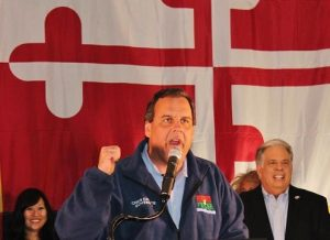 NJ Governor Chris Christie campaigning with Larry Hogan in Maryland shortly before Election Day 2014. Photo by Rob Windley.