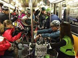 crowded train cycling